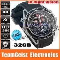 32GB HD 1080P Waterproof DVR camera Watch Sound Activation Control with IR Night Vision Men's Quartz WEBCAM Wrist Watch
