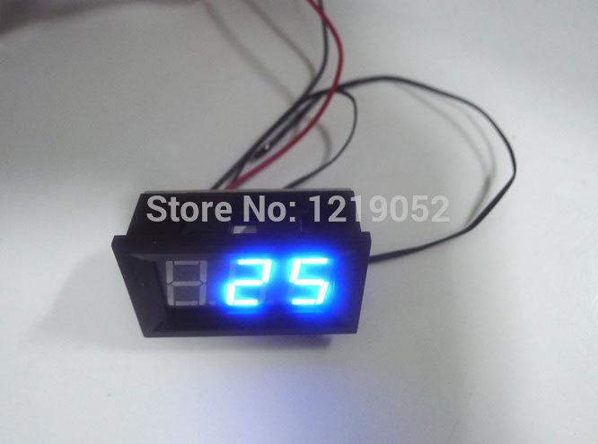 50pcs/lot Digital Thermometer DC Panel Meter Blue LED -30 degrees ~+70 degrees DC Temperature Monitor Meter(China (Mainland))