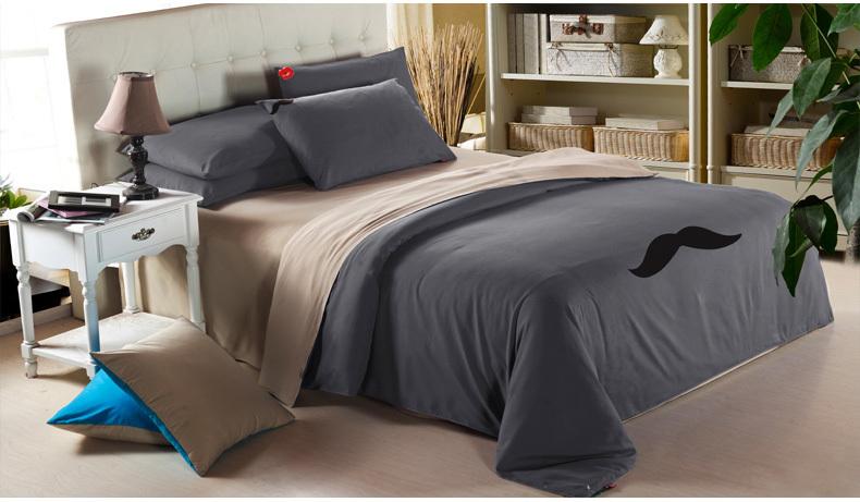 Good quality brand duvet cover mustache designers home textile mens bedding sets grey comforter - Bedroom sets for men ...