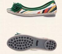 Free Shipping 2014 Summer Cotton Beijing Shoes Non-slip Soft Bottom Women Flat Sandals T5271 Green