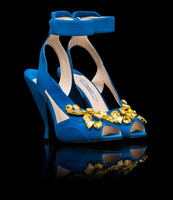 New 2014 JC blue suede gold Jeweled Ankle-Strap Sandals/shoes women genuine leather shoes crystal prado sandals free shipping