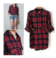 2014 British Wind Fashion Trendy Women Shirts, Rivets Pockets Blouses, Cotton Plaid Shirt For Women,Top Quality Clothing  #C0692
