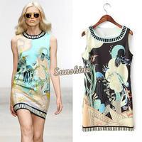 2014 Hot Fashion Womens Cartoon Ocean Print Pattern Sleeveless Dress Chiffon Ladies Casual Tank Dresses B003 SV003860