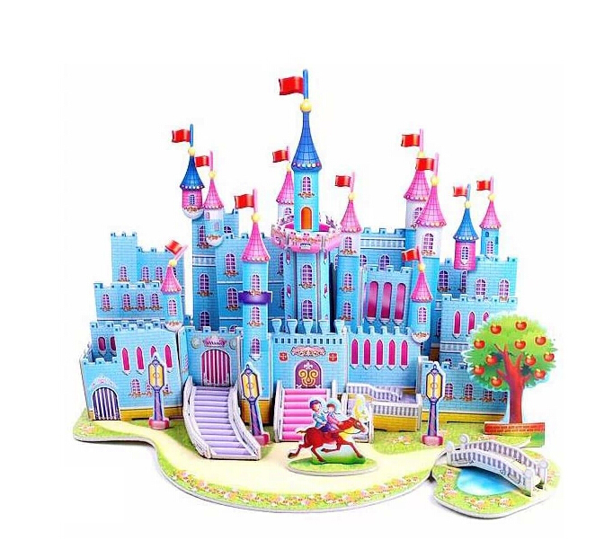 2015 New Hot sale Kids Educational Toys House Castle DIY 3D Jigsaw Puzzle For Children Adults (8 Models can choose) for gift(China (Mainland))