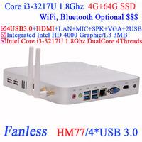 Intel i3 mini pc fanless workstation Intel Core i3 3217U 1.8G USB3.0 HDMI VGA DirectX 11 support 4G RAM 64G SSD Windows or Linux