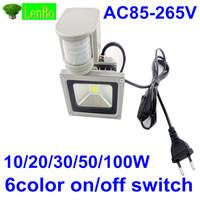 with on/off switch 110v  220V Outdoor Floodlight 10W 20W 30W 50W  PIR LED Flood light White Warm Floodlight  A85V-265V LW42