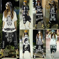 Punk rock Tracksuit for women sportswear New 2014 Womens sports costumes Summer hip-hop personality Loose Harajuku LP-39