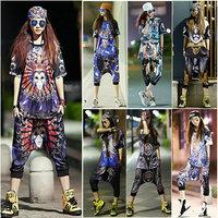 2 piece set 3d Sportswear 2014 Fashion New women's suits Summer streets of loose suit Hip-hop Harem Harajuku LP-40