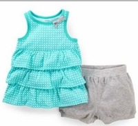 2014 New Carters Baby Girls 2-piece Clothing set, Baby Summer Wear,  Ruffled Top & Bubble Short Set , hot sell