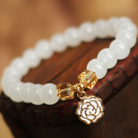Hot Sale High quality Gold-plated Flower Bracelets & bangle for Women Fashion 7MM White Crystal Beads Party Jewelry Wholesale