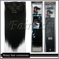 Full Head 8PCS 105g 40CM 45CM 50CM 55CM 60CM 65CM Brazilian Virgin Clip in/on 100%Real REMY Human Hair Extensions#1 Jet Black