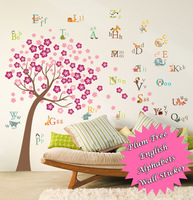 Funlife 280x170cm 110x67in Exclusive Plum BlossomTree Early Learning English Alphabets Letters Wall Sticker BD1199/BD1200