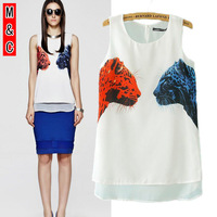 M&C S56 fashion 2014 summer new women leopard print casual shirt vest sleeveless T-shirt ladies