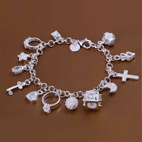 Fashion Women 925 silver bracelet 925 silver fashion jewelry charm bracelet 13 Pendants Bracelet SY020