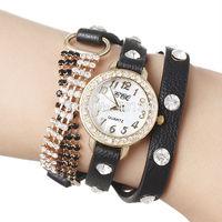 2014 Korean Fashion PU Leather Strap Wrap Watches Hours Golden Chain Women Rhinestone Dress Watch