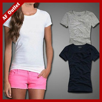 Classic Women's Tshirt Solid Color 100% Cotton Basic Shirts Short Sleeve Summer Top For Woman Ladies T-shirts AJW1812