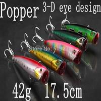 Lot  Colors Fishing Lures Crankbait  Popper Hooks Crank Baits 42g  17.5cm Super big  original vmc hooks Minnow  Free Shipping
