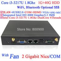 thin client vmware mini pc computer with fan Intel i3-3217U 1.8Ghz CPU NM70 chip 3G card slot 2 RJ45 HDMI VGA COM 1G RAM 40G HDD