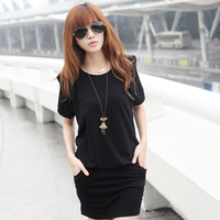 2014 summer autumn Women Ladies plus size fashion Sexy slim pure color Cotton Casual Lace Dress