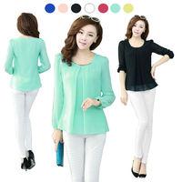 2014  Golden Articlesequins O-Neck Elastic Cuff Shirt for Spring/ Autumn Blouse Tops Size S-M-L-XL-XXL-XXXL-XXXXL  E3053-20#S5
