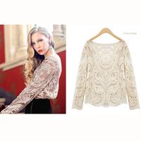New 2014 Women Hollow Crocheted Lace Long Sleeve Sexy Sweet T-shirt Women [YF391-426]