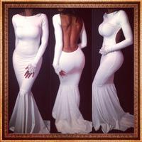 New Women Celebrity Maxi Bodycon dress long sleeve backless Ladies sexy party bandage dress long white Prom Elegant Dress YQ021