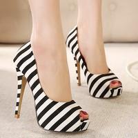 Free shipping Navy Style Stripe Blue&white/Black&white Summer Sandals high Heels waterproof Peep toe women shoes pumps #3194