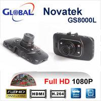Free shipping car DVR GS8000  Novatek chipest Glass Lens 1920*1080P  140 degree 25fps Night Vision  GS8000 DVR