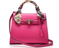 2014 Kely women leather handbag Candy color lockbutton birkinn vintage silk scarf wome handbag shoulder bag women messenger bag