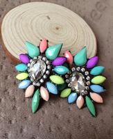 2014 Fashion Earring Owl Colorful Luxury Crystal Resin statement Brand Earrings 2014 Women Earrings For Women Wholesale