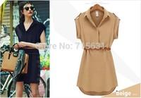 Fashion New Shirt Dress 2014 Casual Summer Women European Brands Loose Plus Size Short Sleeve Turn Down Collar Chiffon Dresses