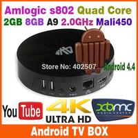 Quad Core Amlogic S802-h Vega S89-h m8 Android 4.4 TV Box Smart Mini PC TV Box XBMC Internet Streaming WIFI Free Shipping
