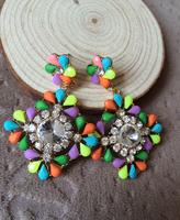 Fashion Drop Earring Colorful Luxury Crystal Resin Statement Pendant Earring 2014 Brand Earrings For Women Wholesale