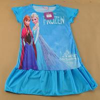new 2014 summer frozen elsa anna princess Retail girl print dress brand children casual kidsdress POLYESTER kids clothes party