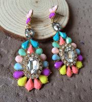 New Fashion Brand Woman Earrings 2014 Vintage Women Drop Earings with Crystal Gem Stones Jewelry Wholesale
