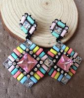 2014 Fashion Luxury Resin Stud Earrings Colorful Crystal Earring Statement Stud Earring Brand Stud Earring Women 2014 Wholesale