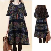 2014 new summer Korean style women dress plus size loose print patchwork linen dress women v248 free shipping