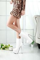 New arrival spring/Autumn sexy brand 19cm ultra high heels martin boots red bottom platform women's pumps Big size:41-44 45 46