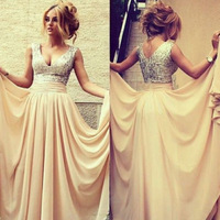 Details about 2014 New Sequins Prom Dress V Neck Long Formal Evening Party Ball Gowns