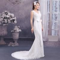 2014 New Fashion White Long Court Lace Sexy V Neck Fishtail Women Beautiful Wedding Dresses Bride Dresses Free Shipping