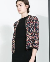 2014 fashion new Autumn New Women Fashion Flower Prints Leisure Bomber Jackets Ladies' Coats    #C0477