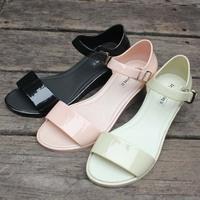 2014 Summer Belt Wedges Sandals Brief Plastic Jelly Shoes Women's Solid Color High Heel Sandals Black/Beige/Pink Size 36-40