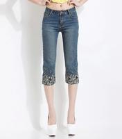 Ferzige Brand 2014 Embroidery Beading Elastic Waist Seven Socks Jeans Size 26-29 Women's 527 - Free Shipping
