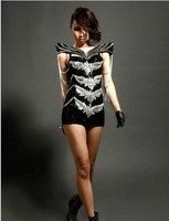 2014 female Super shiny metal chain nightclub Bar DS costumes Dance performance wear shrug luxury costumes stage