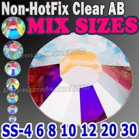 Mix Sizes 1200pcs/Lot ,Clear AB Nail Art Rhinestones SS4 SS6 SS8 SS10 SS12 SS16 SS20 SS30 glitters Non HotFix crystals stone