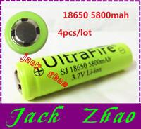 New flat head 4pcs/lot ultrafire 18650 rechargeable battery li ion battery 3.7v batery 5800mah flashlight batteries free ship