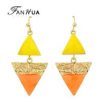 Triangle Orange Yellow Orange Acrylic Vintage Gold Color Alloy Indian Jewelry  New 2014 Fashion Designer Bijoux For Women