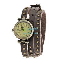 7 Colors Women elegant leather Round Rivet strap Vintage Dress Watches roma number dial quartz Bracelet Wristwatches B9 SV002251