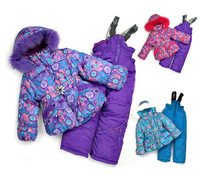 Good quality New 2014 Retail Winter set Children windproof set Kid's girl outdoor warm suit European and American style set