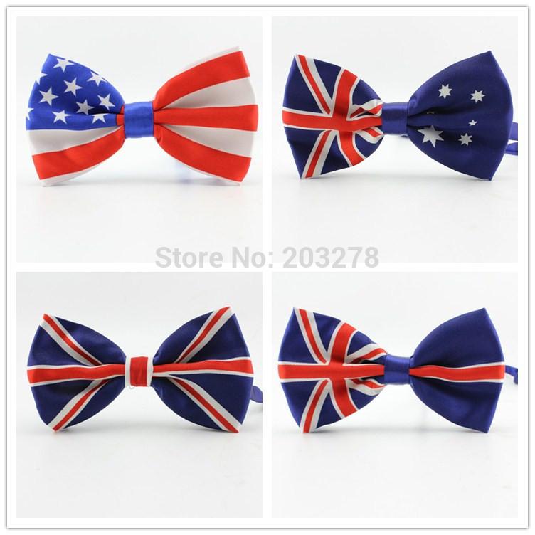 2014 new fashion men bow tie Union Jack British Flag bowtie Australian American Flag bow ties Necktie Wholesale(China (Mainland))